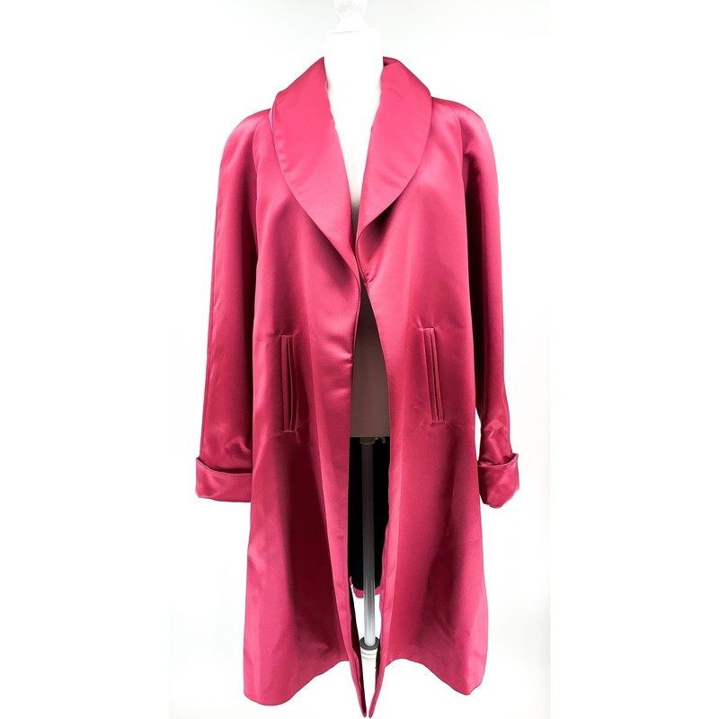 - JS Rose pink satin longline Opera coat<br /> - Size Large<br /> <br /> CHEST: 22 inches<br /> WAIST: 26 inches<br /> SLEEVES: 34 inches<br /> TOTAL: 44 inches