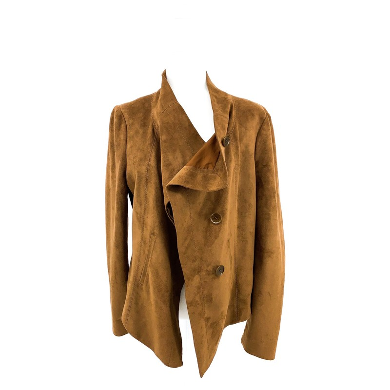 - BCBG Max Azria brown suede bomber jacket<br /> - Size large<br /> <br /> CHEST: 20 inches<br /> WAIST: 19 inches<br /> SLEEVES: 25 inches<br /> TOTAL: 23 inches