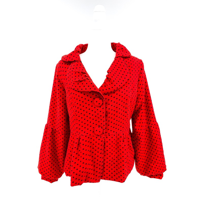 - Bar brand red fuzzy jacket with black polka dots<br /> - Size medium<br /> <br /> CHEST: 19.5 inches<br /> WAIST: 16.5 inches<br /> SLEEVES: 23 inches<br /> TOTAL: 23 inches