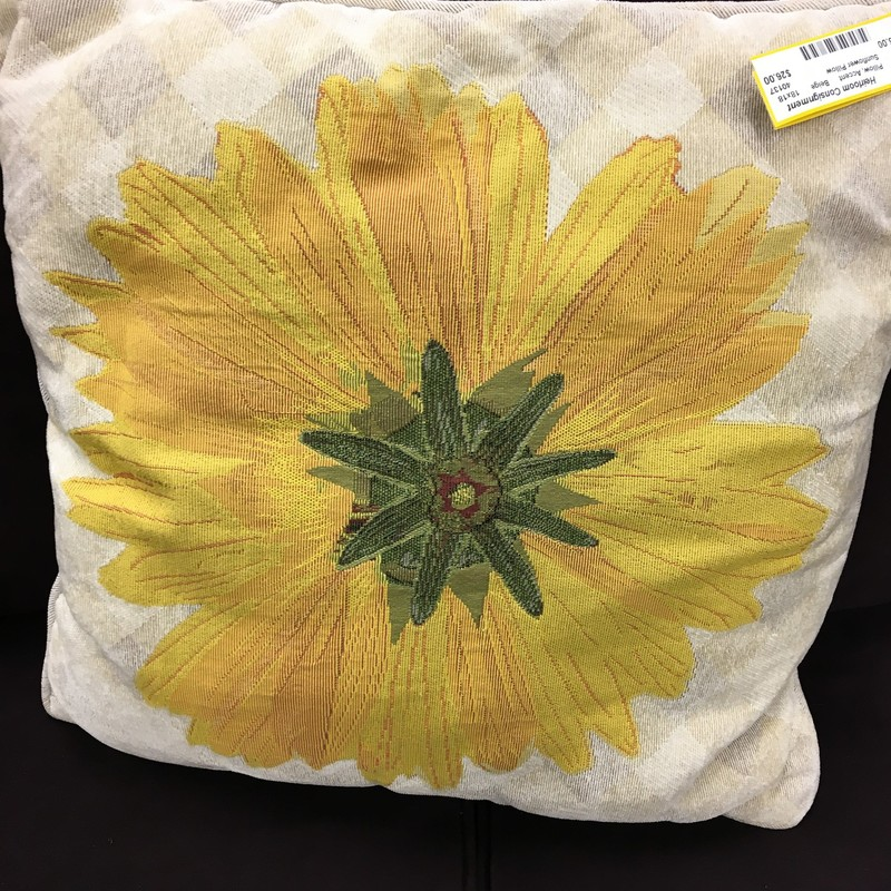 Sunflower Pillow, Beige, Size: 18x18