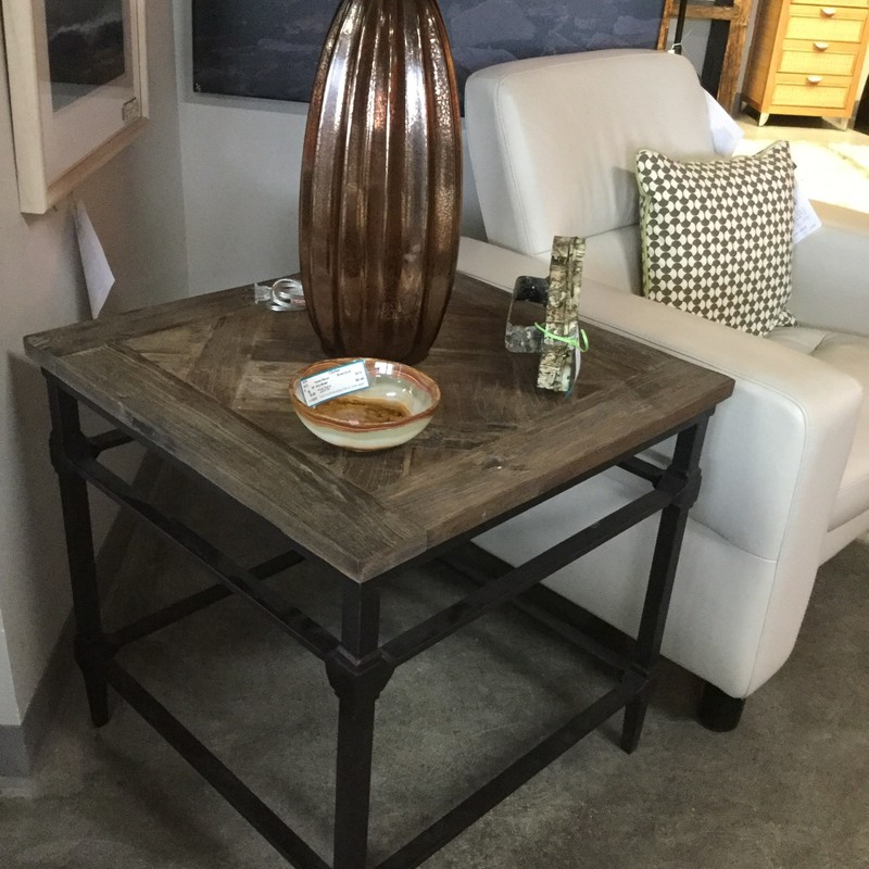 "Pottery Barn Parquet End Table, Wood and Iron, Size: 24""X24""X24"""