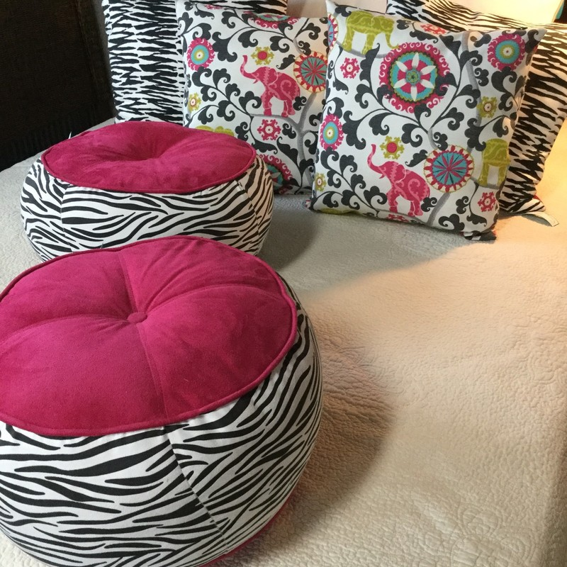"Zebra Throw Pillow, Zebra & Pink, 2 Available, Size: 22"" square"