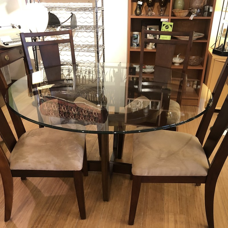 Table 4 Chairs Dining, Glass: 5 Pcs
