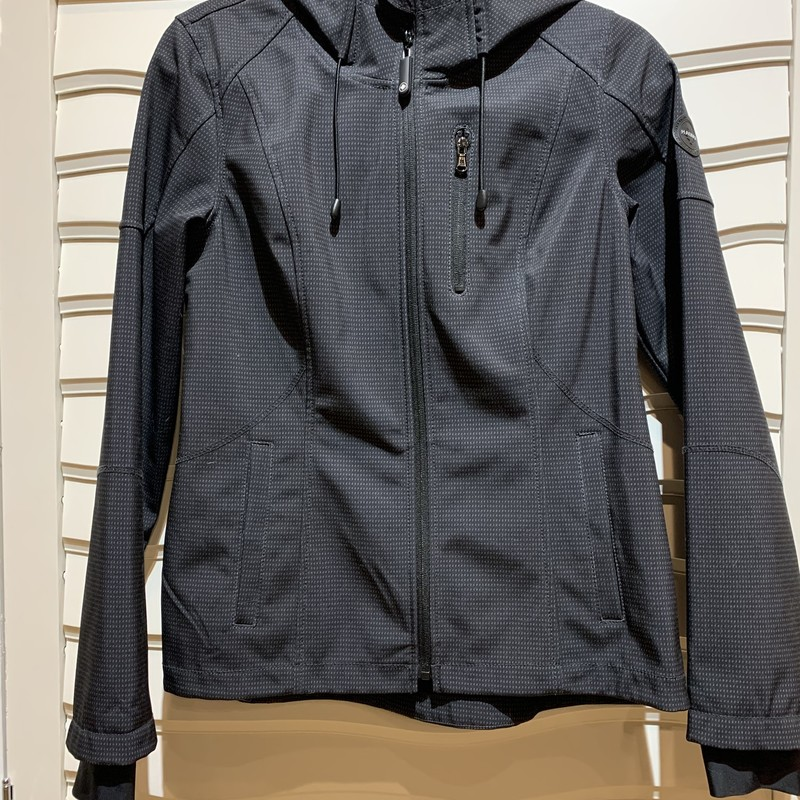 Halifax Traders jacket in black with small gray speck design. Great piece for the changing temperatures. Size small.