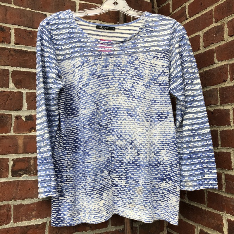 Blue, striped sweater from Nic + Zoe. Size medium.