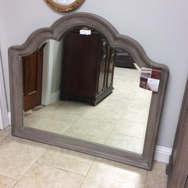 This large mirror is lovely, and matches the bedroom set listed above.! By Pulaski, it has a curvy frame which has been painted a soft grey and distressed to give it that ever-popular weathered and timeless look. It has no hanging hardware, which is why it is priced to move at only $125!!