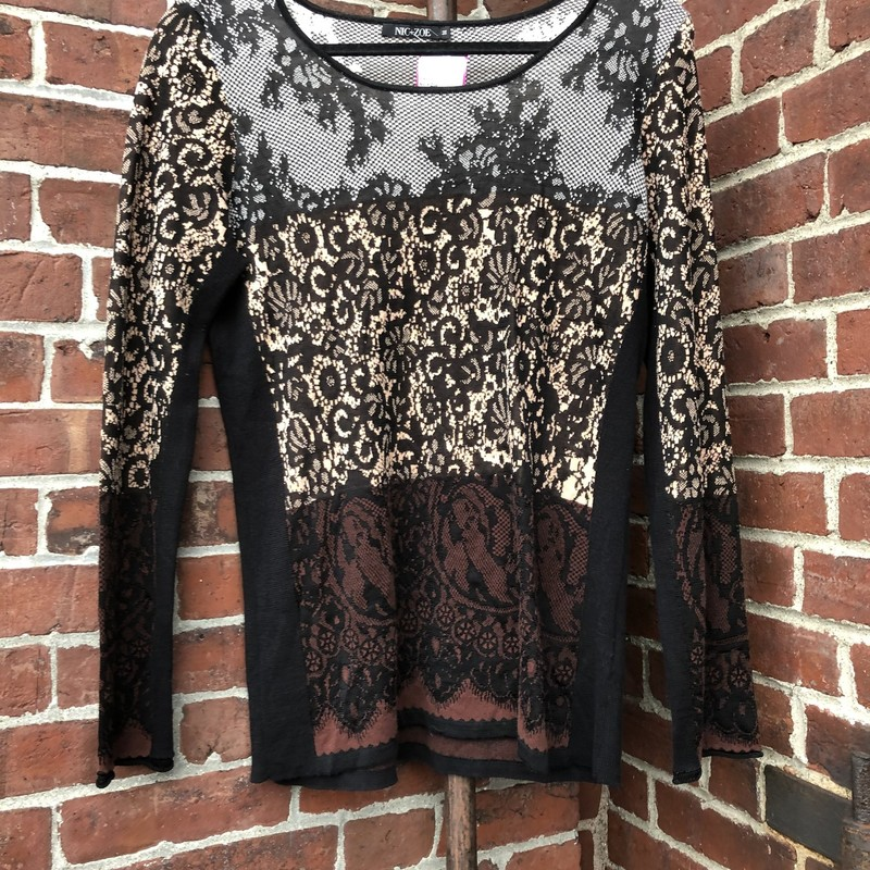 Multi-colored sweater from Nic + Zoe with an interesting lace-like design over the entire sweater. Size medium.