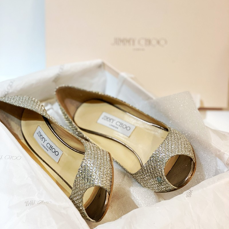 Jimmy Choo Glitter Pumps, Champaig, Size: 37.5<br /> worn once, open toe glitter pumps. Fits like a 6.5 to 7