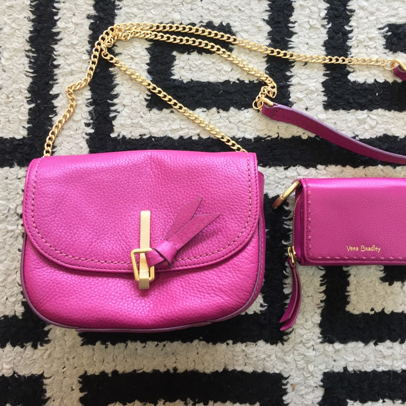 LIKE NEW Vera Bradley crossbody with matching wallet. Purple leather with gold hardware. Like new, no signs of use, still has retail tags and original paperwork. Gold chain strap. Retail: $278. Don't miss this cute set!