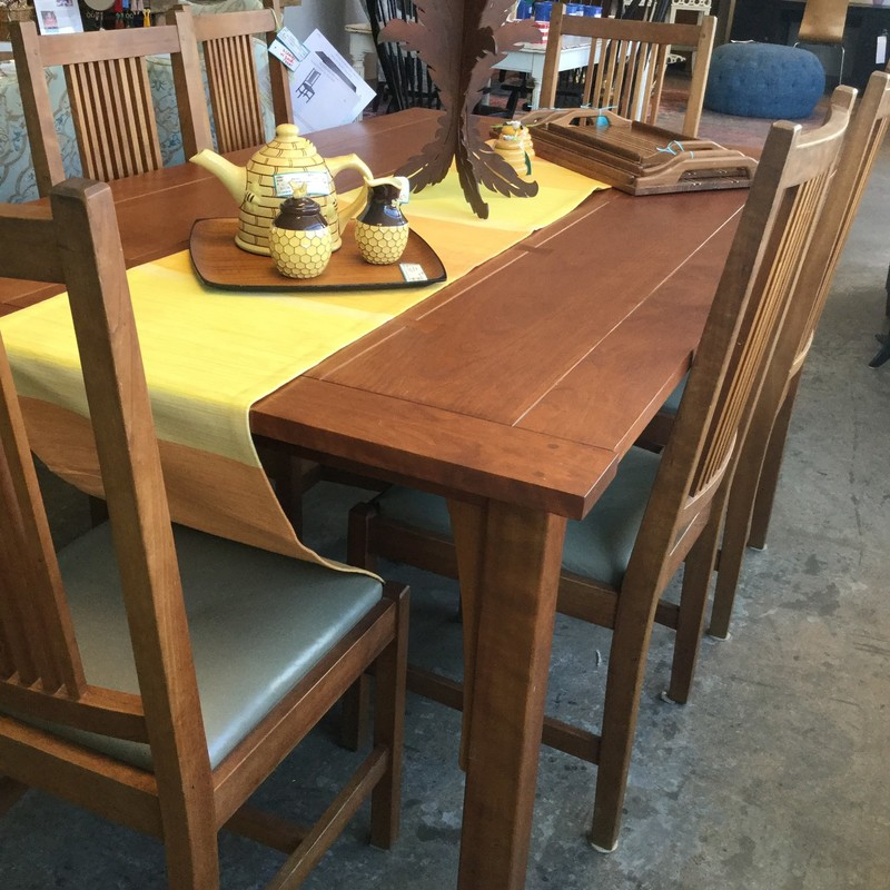 "Stickley Mission Table with 6 Chairs, Cherry, Size: 72""X42""X30"""