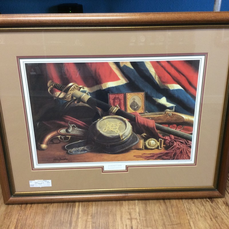 "This JOHN DUILLO print depicts ""Johnny Reb"", with many pieces of battle related memerobilia. It is signed and numbered (#48 of 900), and has a Certificate of Authenticity attached to the back. Stop by and check it out!"