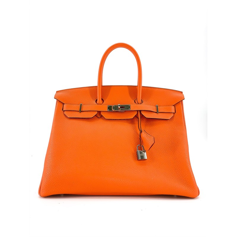 - Hermes Orange 35 Birkin<br /> - Togo leather<br /> <br /> STRAP: 6 in<br /> HEIGHT: 10 in<br /> WIDTH: 7 in<br /> LENGTH: 14 in<br /> <br /> Cannot be purchased with a credit card, please call for info<br /> <br /> Shipping quote does not include insurance. Additional costs may apply depending on destination.