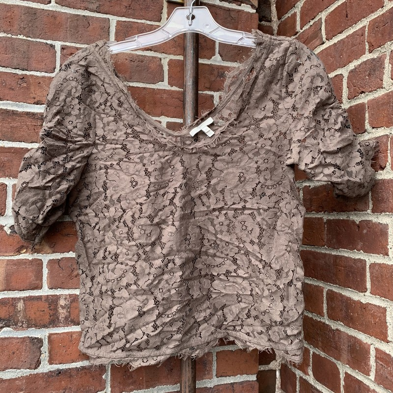 Lace top from Joie. The sleeves have a fun scrunched, ruffle design to them. Size XS