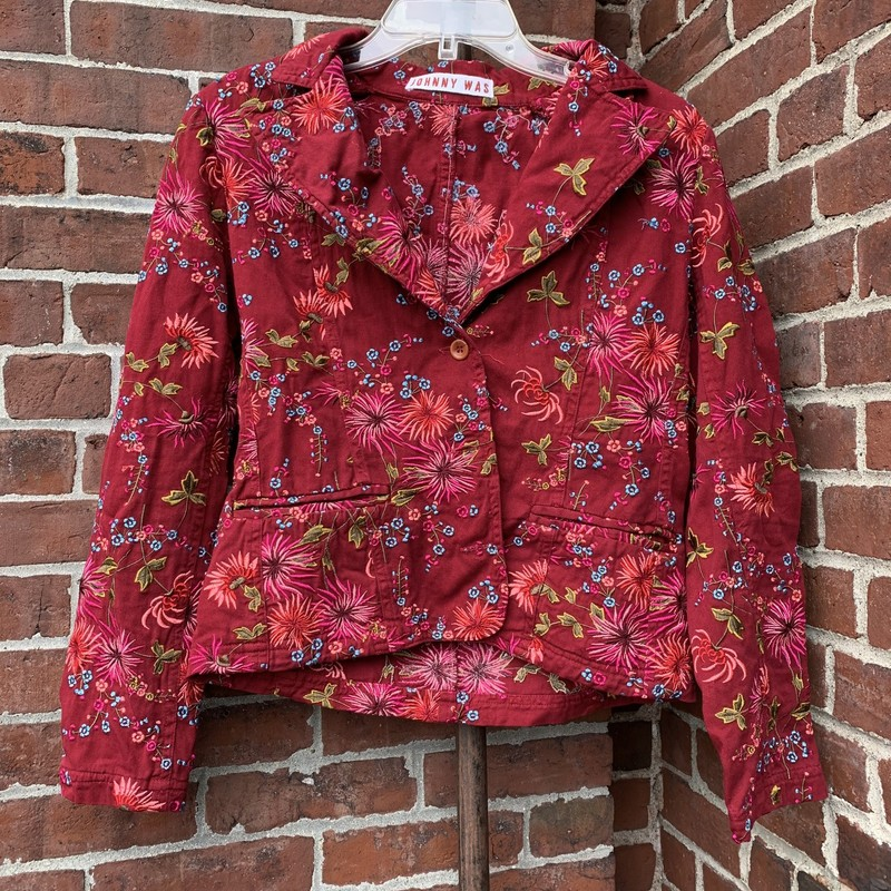 Fun blazer from Johnny Was with embroidered, floral details. Fits a size medium.