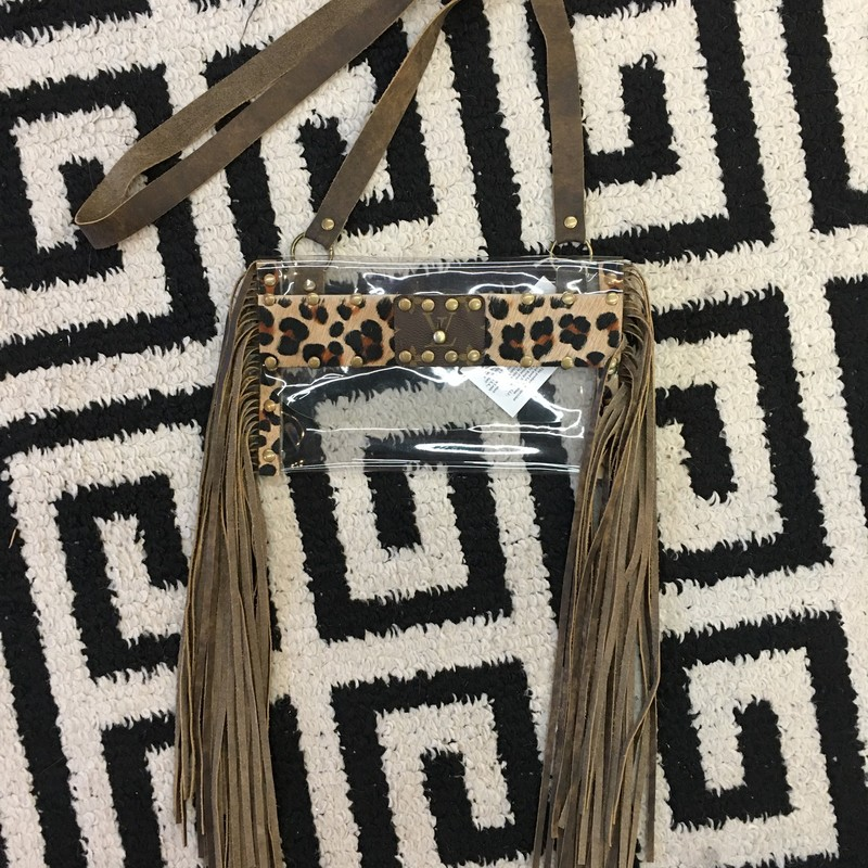 HANDMADE Louis Vuitton clear crossbody. Made with thin, clear plastic, faux cheetah fur, and real leather fringe and strap. This item is staduim approved, so it's perfect for football games, concerts, and other stadium events! This item is made from upcycled Louis Vuitton bags!