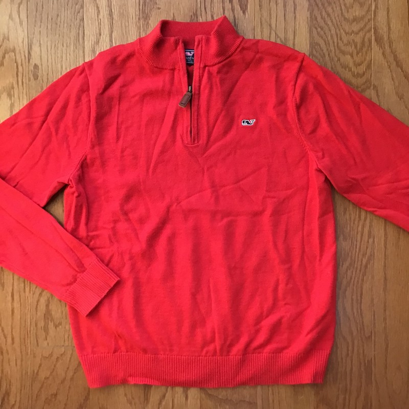 Vineyard Vines Half Zip, Red, Size: 12-14<br /> <br /> <br /> ALL ONLINE SALES ARE FINAL. NO RETURNS OR EXCHANGES.