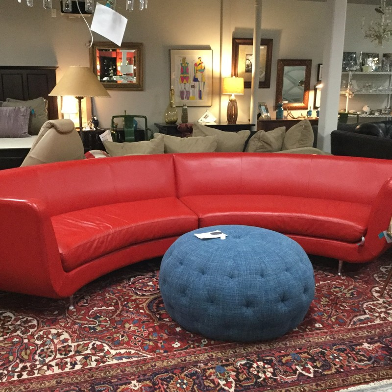 Red American Leather Sectional, 2 Pieces, Size: 142""