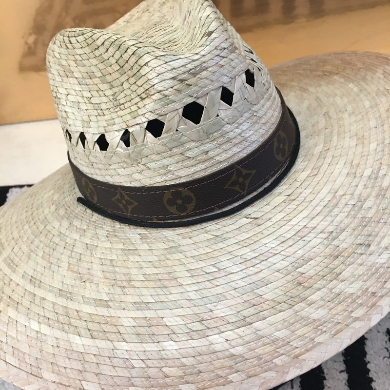 "HANDMADE Louis Vuitton straw hat. Brand new, never been worn. Hat is a ""The Golden West Hats"" brand. Has Louis Vuitton around circumference, made from upcycled authentic Louis Vuitton handbags. Custom order only! If purchased, this item will be handmade and shipped just for you! (Delivery may take 4-6 weeks.)"