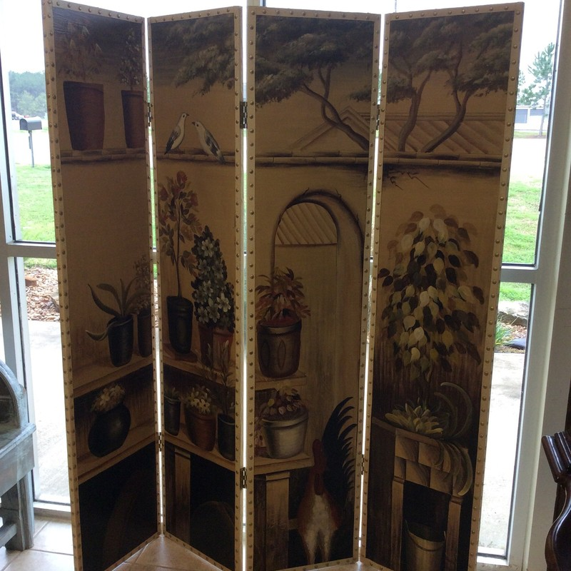 This is a lovely painted 4- panel screen. It features a gardeners/potters theme full of soft, earthy colors. The panels include a gold stud trim.