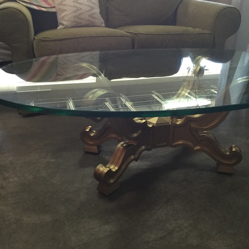 "Glass Oval Coffee Table, Gold, Size: 52""X32"""