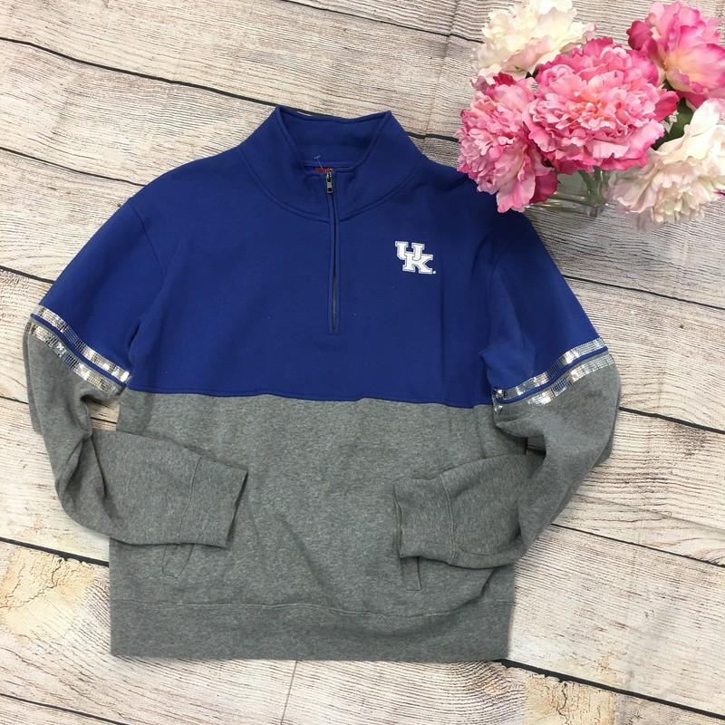 UK  Pullover Grey And Blue, Little Sequines On The Sleeves Size: Large