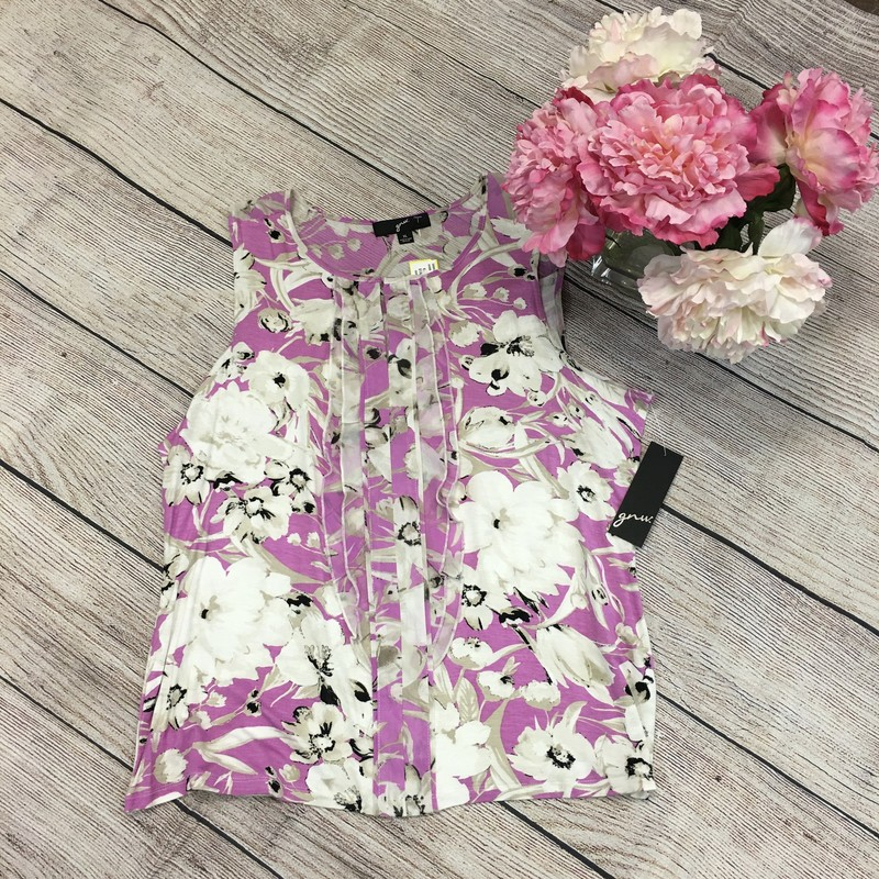 New Floral Purple and cream top.
