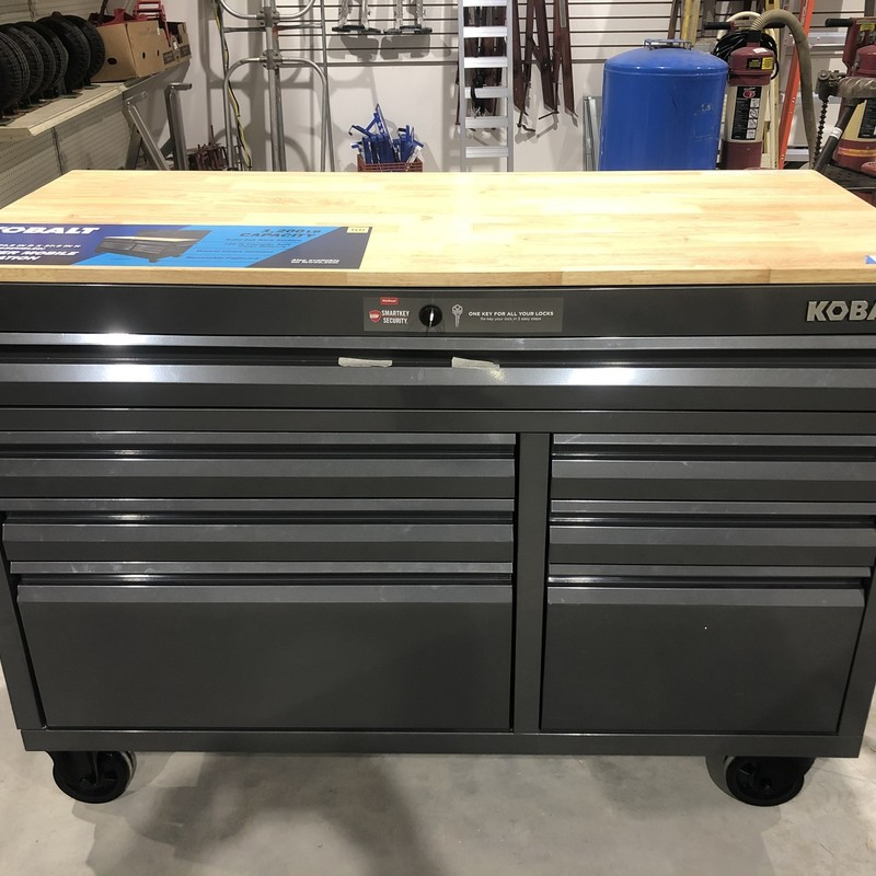 Kobalt 52-in W x 37.5-in H 7-Drawer Steel Rolling Workstation Tool Cabinet with Key<br /> <br /> *SIDE OF BOX HAS DAMAGE FROM SHIPPING*