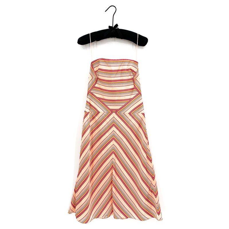 SALE<br /> <br /> - Carolina Herrera zig-zag stripe pink and coral dress<br /> - Size 8<br /> - Spaghetti strap<br /> <br /> CHEST: 29 in<br /> WAIST: 33 in<br /> HIPS: 49 in<br /> SLEEVES: 7 in<br /> TOTAL: 38.5
