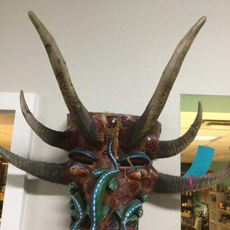 "Indig Horned Mask, Lizard, Size: 18""X15"""
