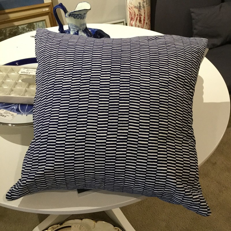 Toss Cushion, Blue/ White