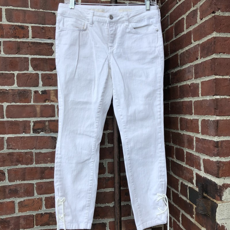 Pilco And The Letterpress, White, Size: 27. Tie detail at ankle.