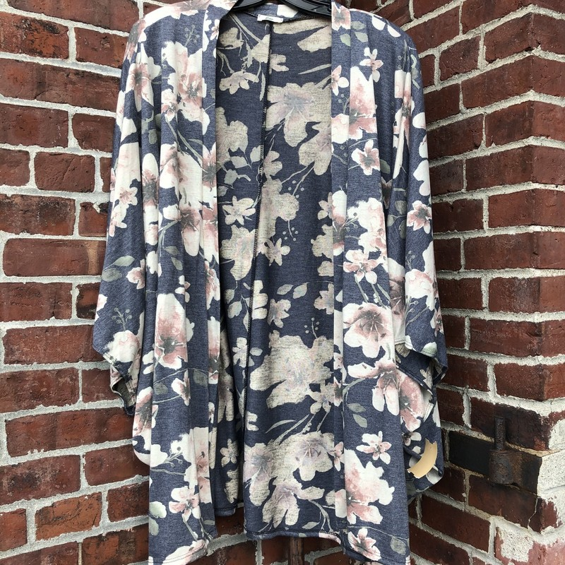 Egs Floral Open Cardigan, Gray, Size: Large