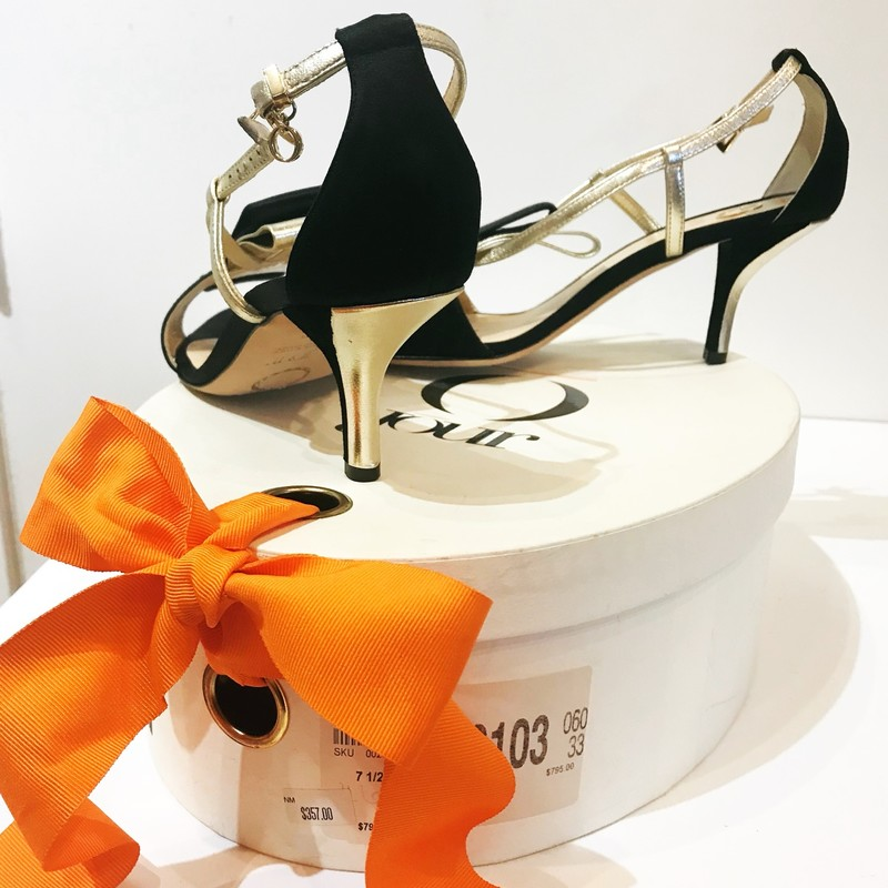 "O Jour Florian 425 Black Satin 2"" Heels with Gold trim.  Subtle bow detail.  New with dust bag and charming oval box. Size: 37.5"