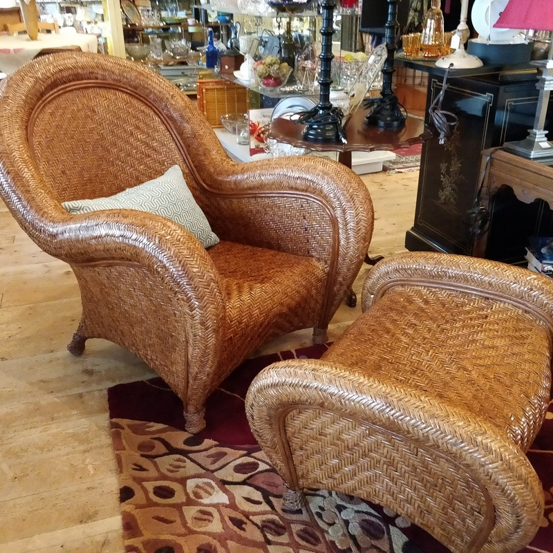 Malabar rattan accent armchair and footrest