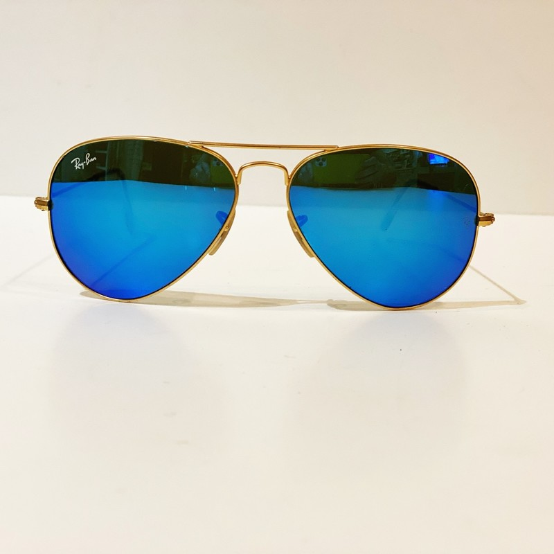 Rayban Aviator Sunglasses, Gold, Size: Large<br /> very good condition, plastic caps on end