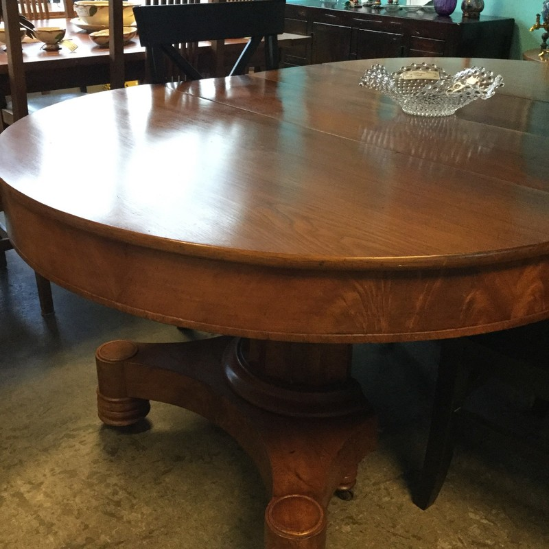 Vintage Pedestal Dining Table, 4 Leaves, Size: Oval 4'X4'