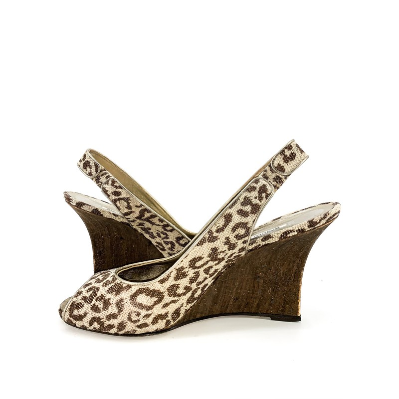 * SALE * Originally $159<br /> <br /> - Manolo Blahnik cheetah wedge shoe with sparkle<br /> - Size 10