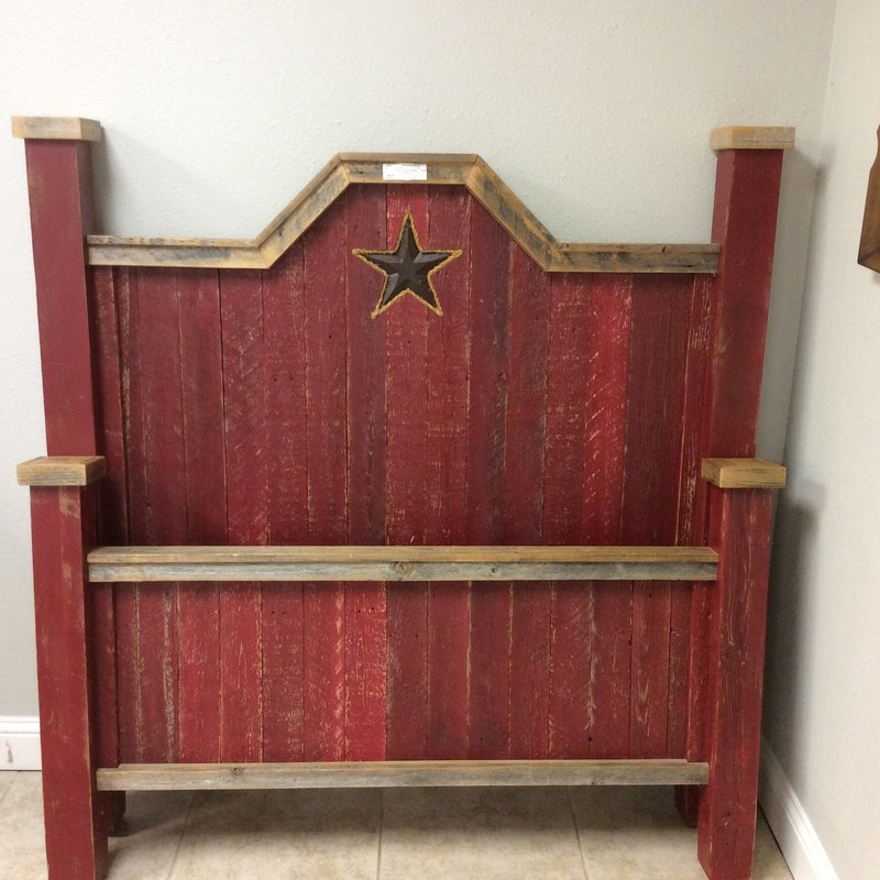 This is a really cool full-sized bed; all you need is a mattress and box spring! It features solid wood construction with a painted (barn red) finish. There is a Texas Star carved into the headboard, too!