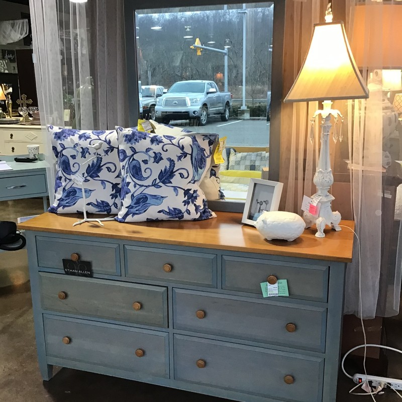 "This pretty Ethan Allen dresser is blue on the bottom and on the mirror and a natural stain on the dresser top. It has 7 drawers, so plenty of space for your clothes!<br /> Dimensions of the dresser are 57-1/2"" x 19"" x 32-1/2""<br /> Dimensions of the mirror are 30"" x 48"""