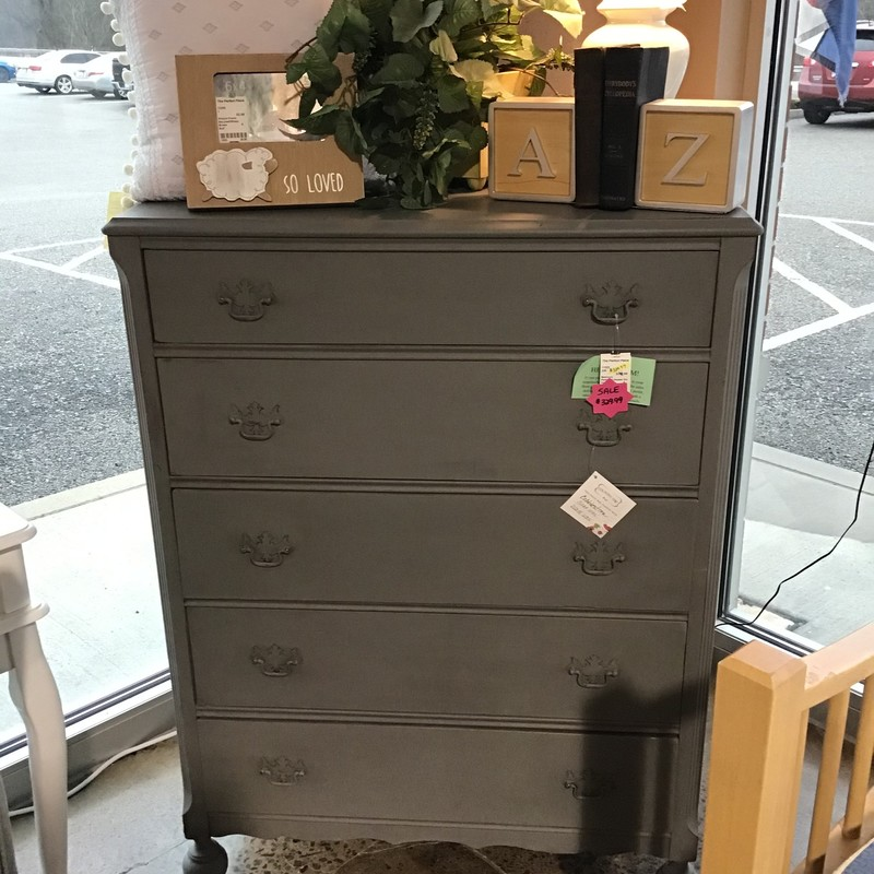 "This beautifully updated tall dresser has been painted using Country Chic's Cobblestone paint and then clear and dark waxed by one of our local artists. It is a beautiful color and super on-trend!<br /> Dimensions are 34"" x 20"" x 48"""