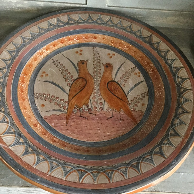 "Mexican Pottery Platter, 2 Birds /Brown, Size: 16""Round"