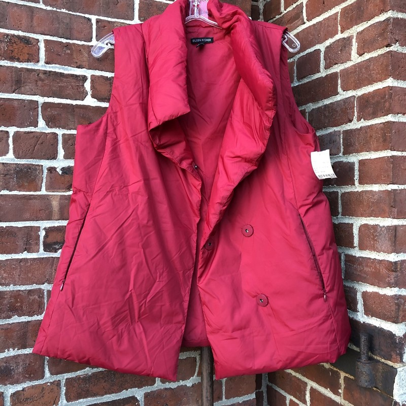 Eileen Fisher Down Vest, Red, Size: Small<br /> Nylon exterior, down fill
