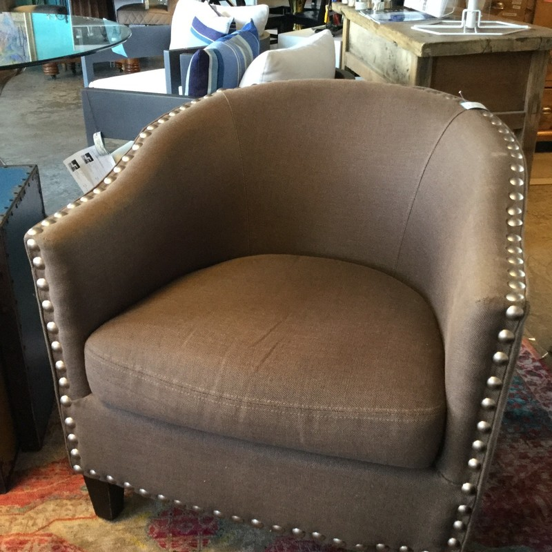 "Taupe Upholstered Chair, Nailhead, Size: 29""X32""X29"""