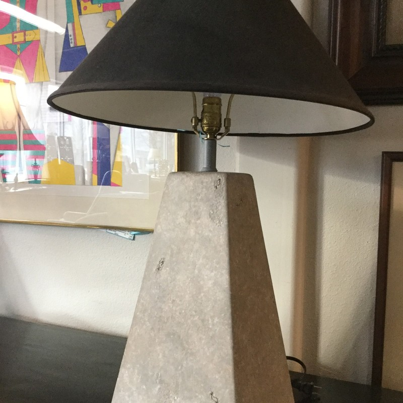 "Faux Stone Lamp Triangle Base, Gray, Size: 29""H"