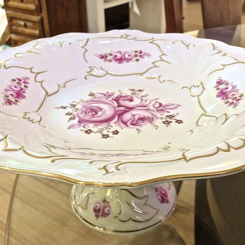 "Plate Pedestal, White and Pink, Size: 12"" H"