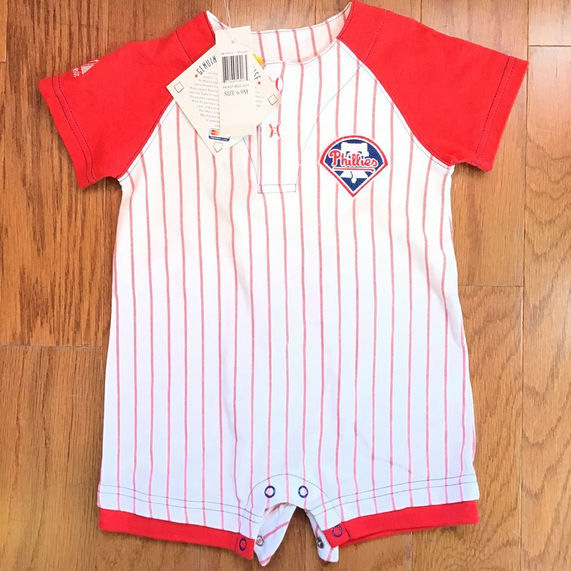 Phillies Romper NEW, Red, Size: 6-9m<br /> <br /> <br /> ALL ONLINE SALES ARE FINAL. NO RETURNS OR EXCHANGES.