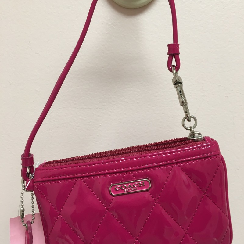 Pink Quilted Coach Wristl, Pink, Size: OS