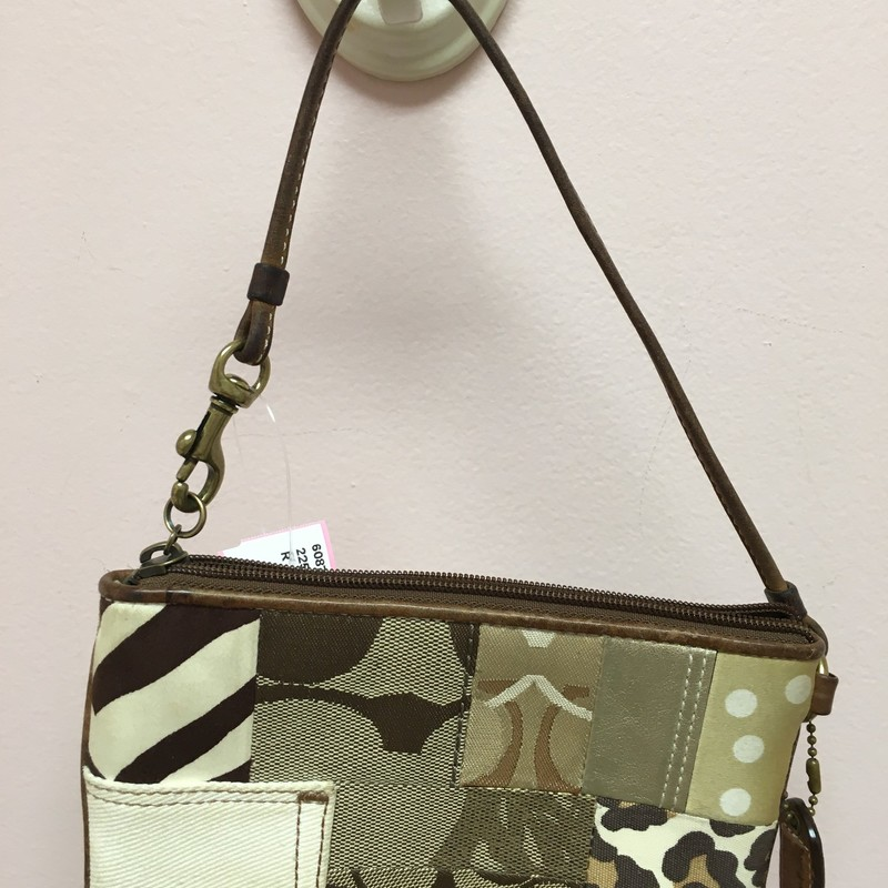 Coach Patchwork Wristlet, Brown, Size: OS
