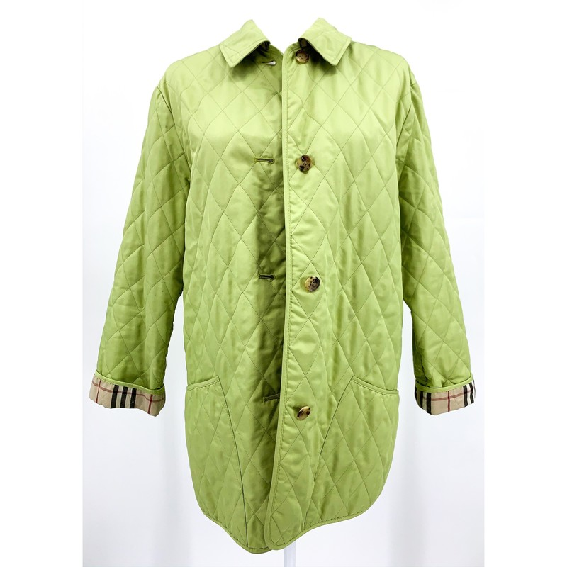 - Burberry quilted lime green jacket with classic Burberry pattern on inside<br /> - Size Small<br /> <br /> MEASUREMENTS:<br /> Chest: 38 in<br /> Waist: 38 in<br /> Arms: 22 in<br /> Full: 30 in