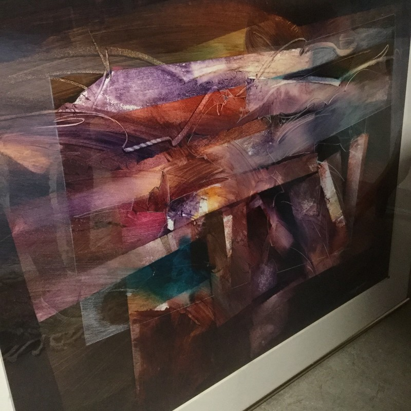 "Framed Abstract Art, Marroons, Size: 48"" x 38"""